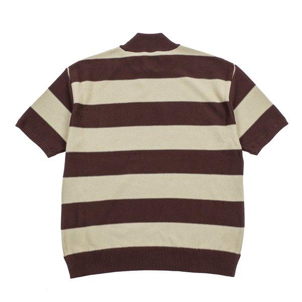 Needles S/s U Mock Neck Sweater - Brown Stripe