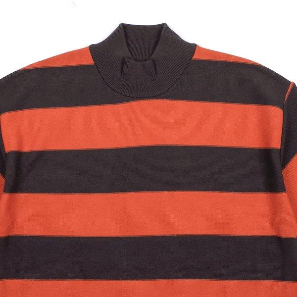 Needles S/S U Mock Neck Sweater - Charcoal Stripe