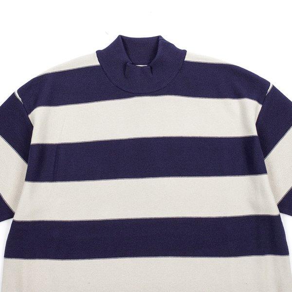 Needles S/S U Mock Neck Sweater - Navy Stripe