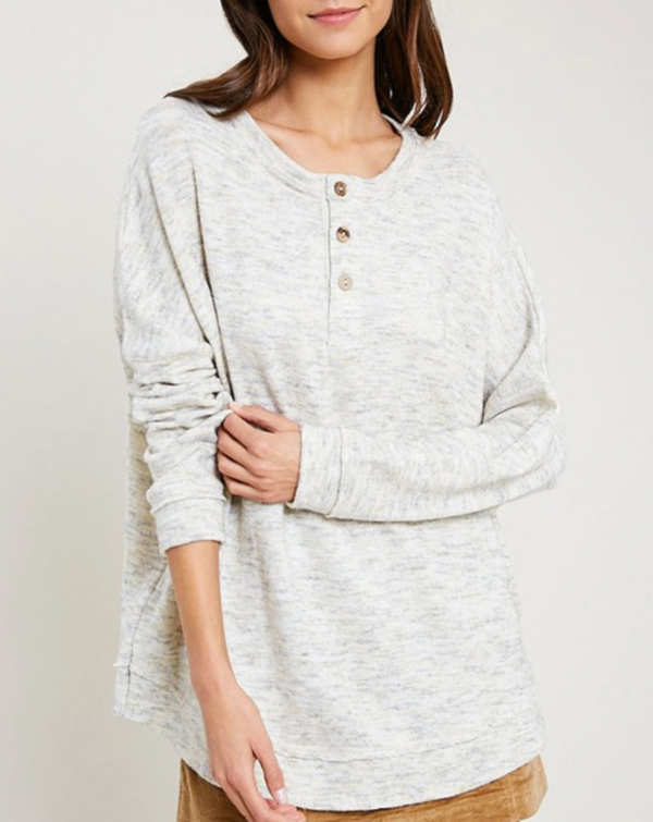 Wishlist Marbled Button Front Oversized Top - Cream