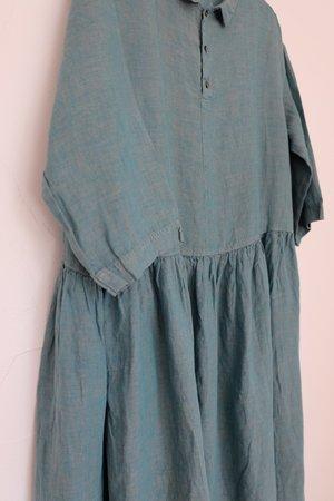 ICHI ANTIQUITES Linen Color Dye Dress - Green