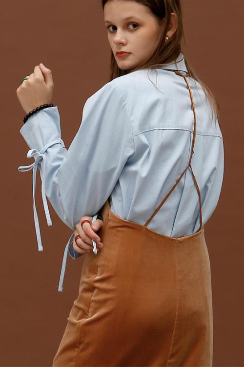 ROCKET LUNCH Velvet Midi Dress- Brown