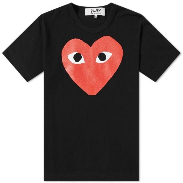 Comme des Garçons Big Red Heart Graphic Tee - Black