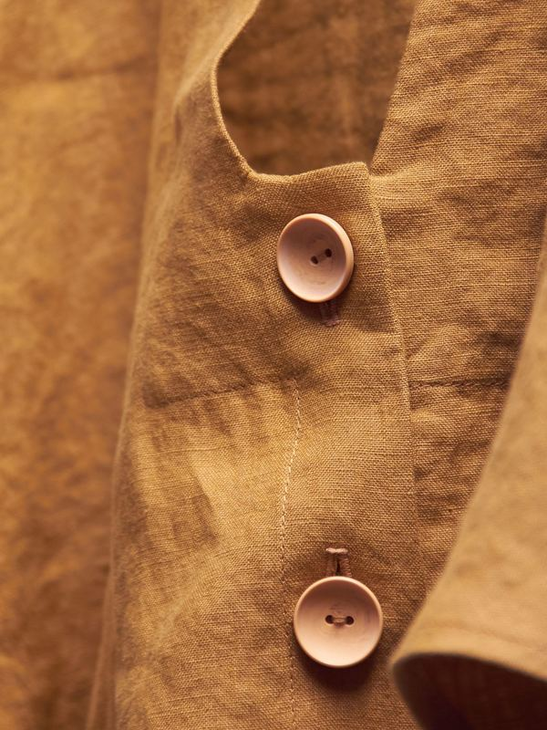 Nancy Stella Soto V-Neck Cropped Shirt - Ochre