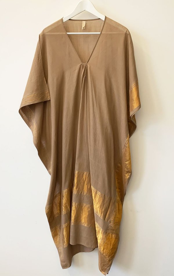 Two Sari Caftan - Tan/Gold