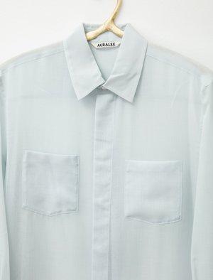 Auralee Sheer Shirtdress - Light Blue