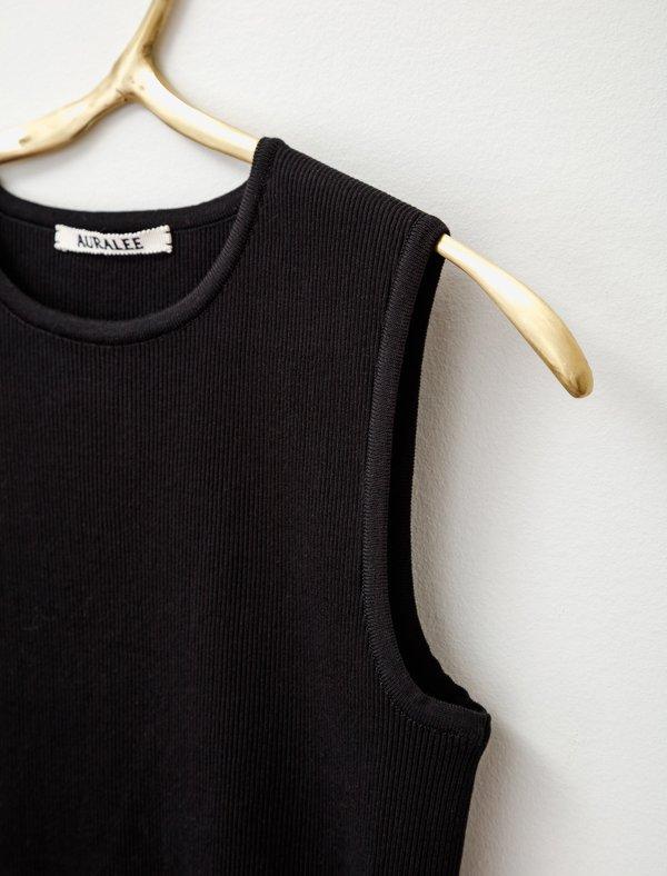 Auralee Sleeveless Rib Knit Top - Black