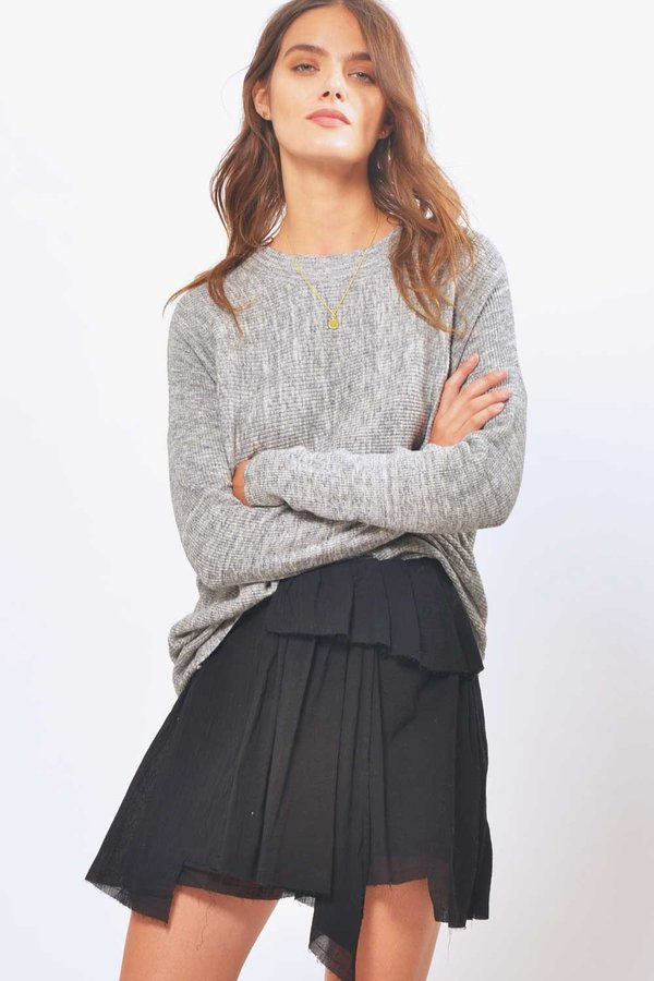 Line & Dot Ana Raw Edged Skirt - Black