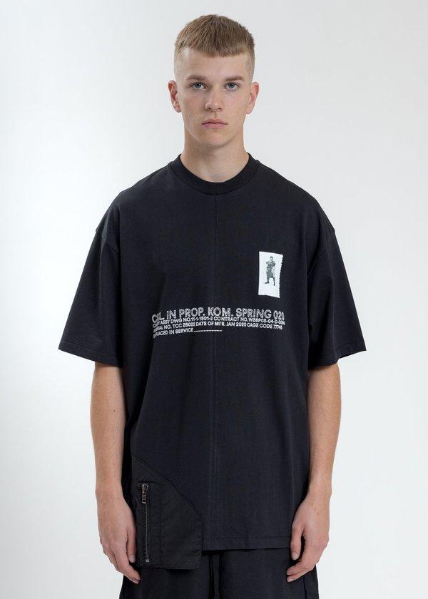 Komakino Loose Fit T-Shirt With Nylon Pocket - Black