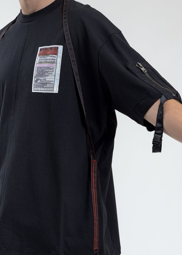 Komakino Loose Fit T-Shirt With Nylon Pocket And Tape - Black