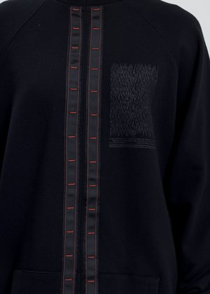Komakino Oversized Crewneck With Tape - Black