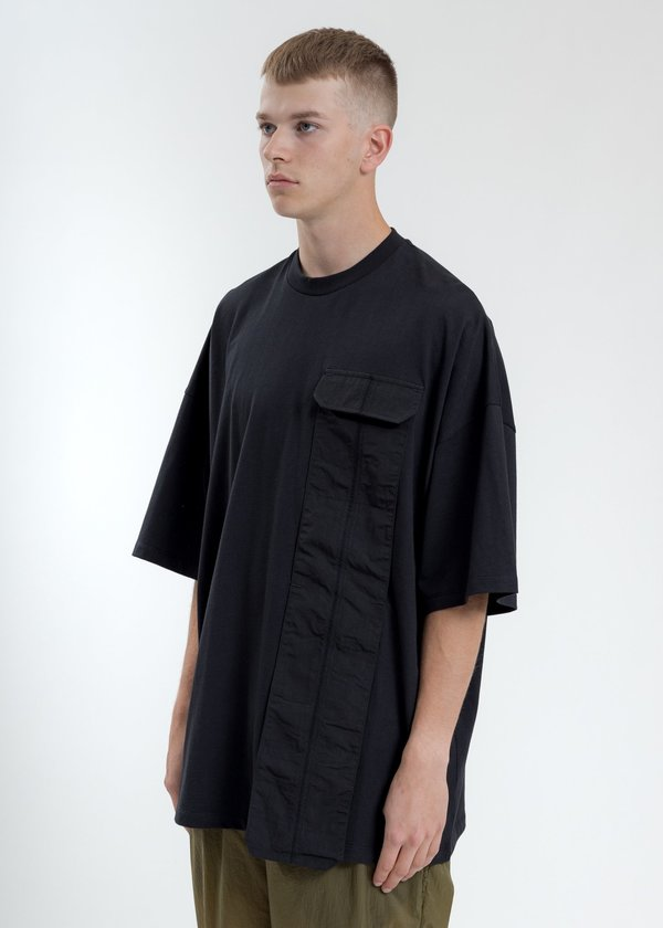Komakino Oversized T-Shirt With Nylon Pocket - Black