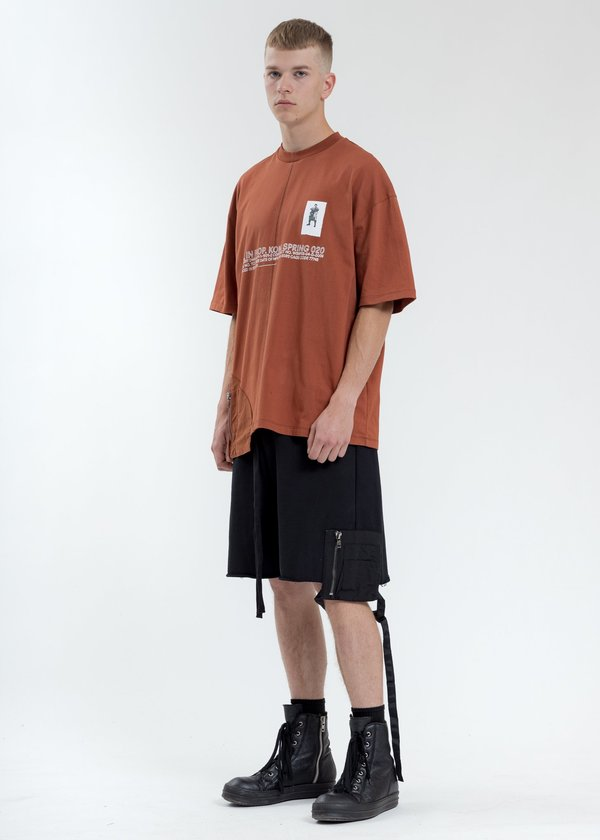 Komakino Loose Fit T-Shirt With Nylon Pocket - Sienna