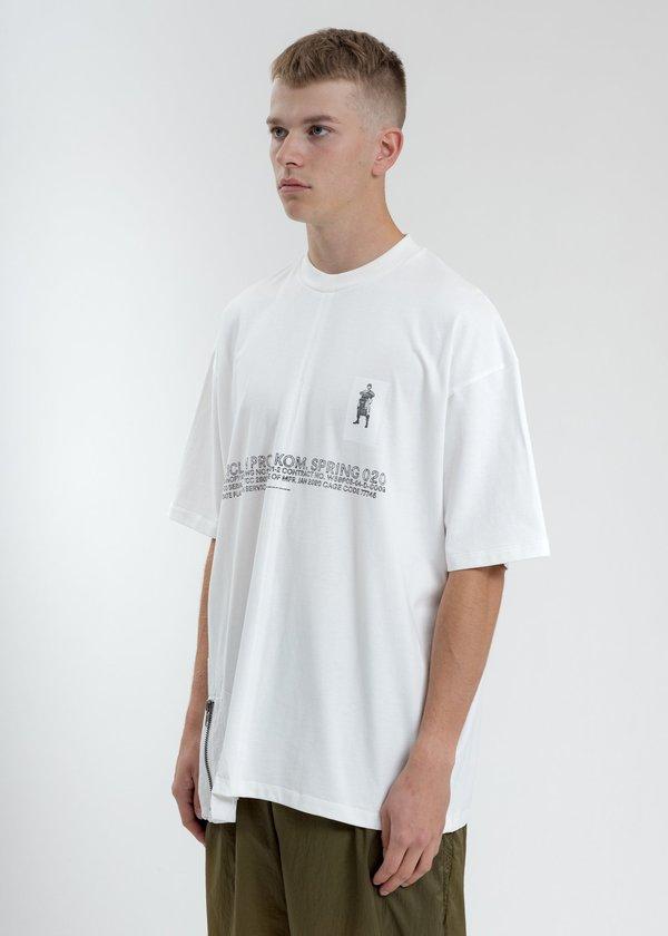 Komakino Loose Fit T-Shirt With Nylon Pocket - White