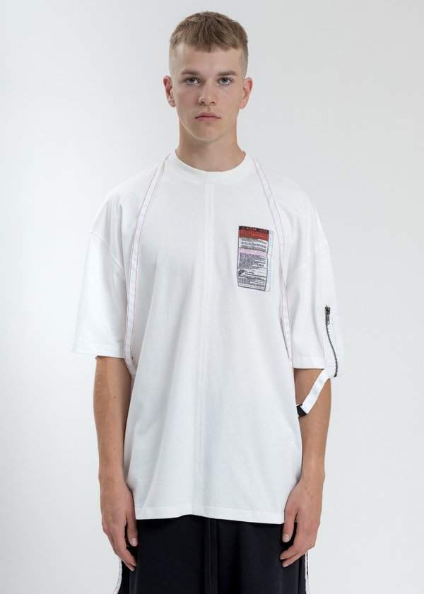 Komakino Loose Fit T-Shirt With Nylon Pocket And Tape - White
