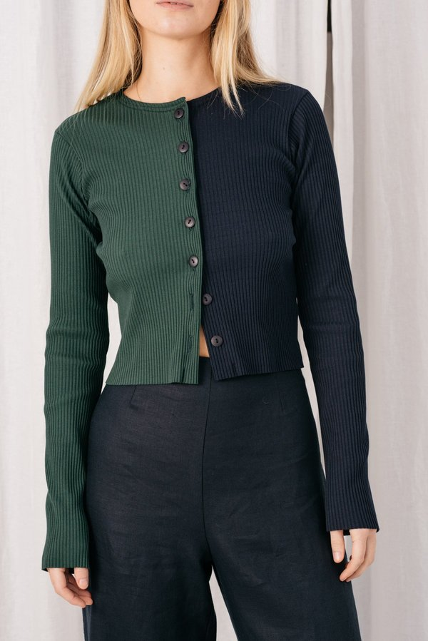 FME Apparel Duet Cardigan - Green/Navy