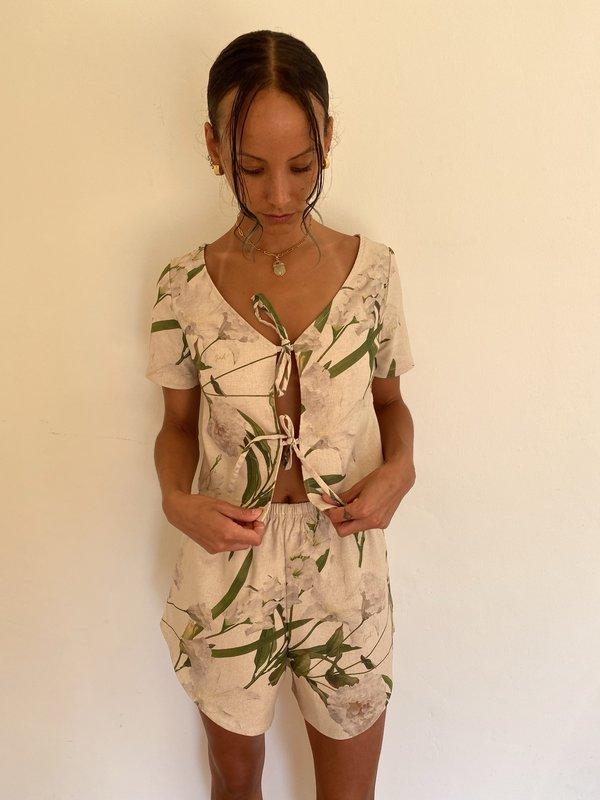 Lisa Says Gah Capri Linen Set - Floral
