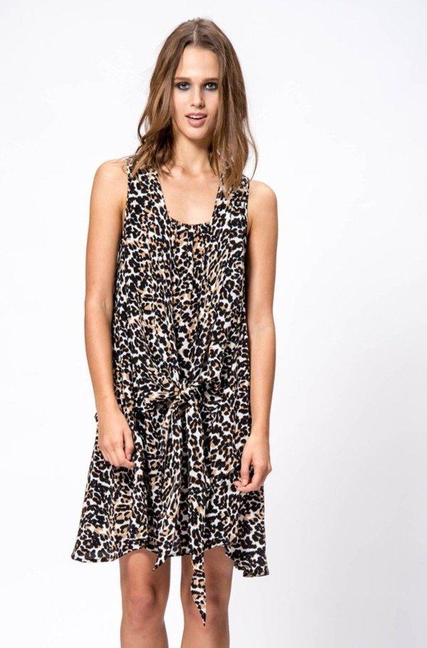 Primary New York Silk Print Tie Dress - Leopard