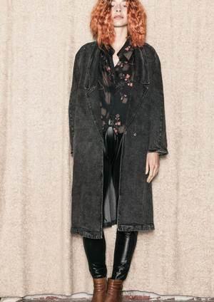 Berenik LONG REVERS DENIM COAT - washed black