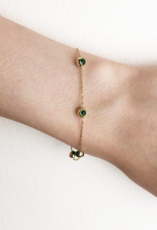 SS JEWELRY Green Chain Eye Bracelet