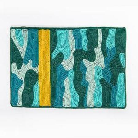 Ink + Alloy Beaded Clutch - Teal Camo