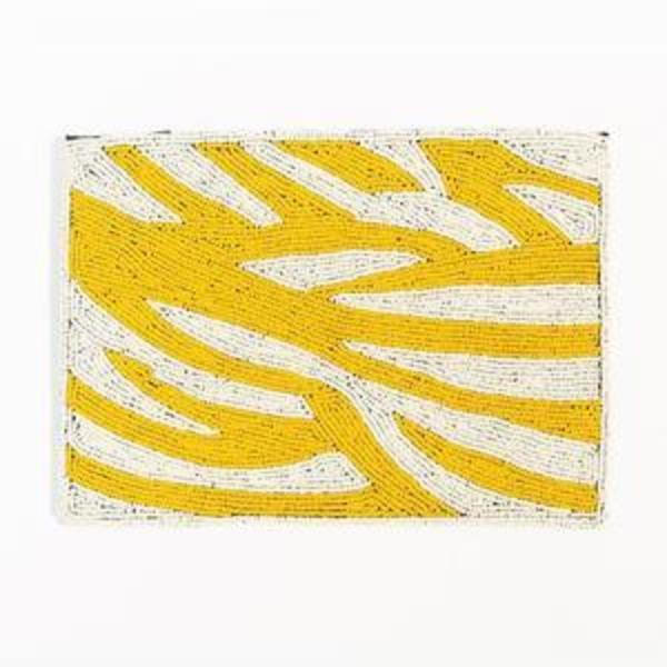 Ink + Alloy Beaded Clutch - Yellow Zebra