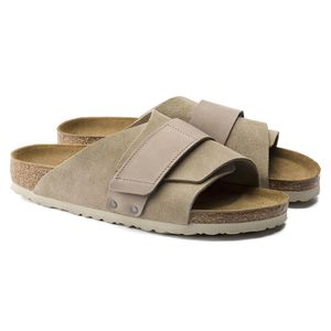 Birkenstock Kyoto Nubuck/Suede Leather Sandals - Taupe