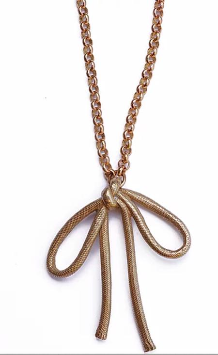 Watersandstone Big Bow Necklace - Brass