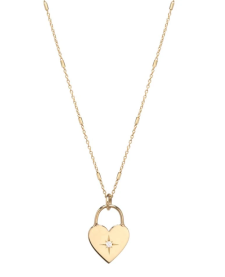 Zoe Chicco diamond heart padlock necklace - 14k Gold