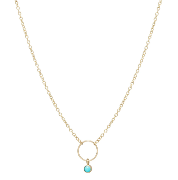 Zoe Chicco 14k Dangling Bezel Turquoise Necklace
