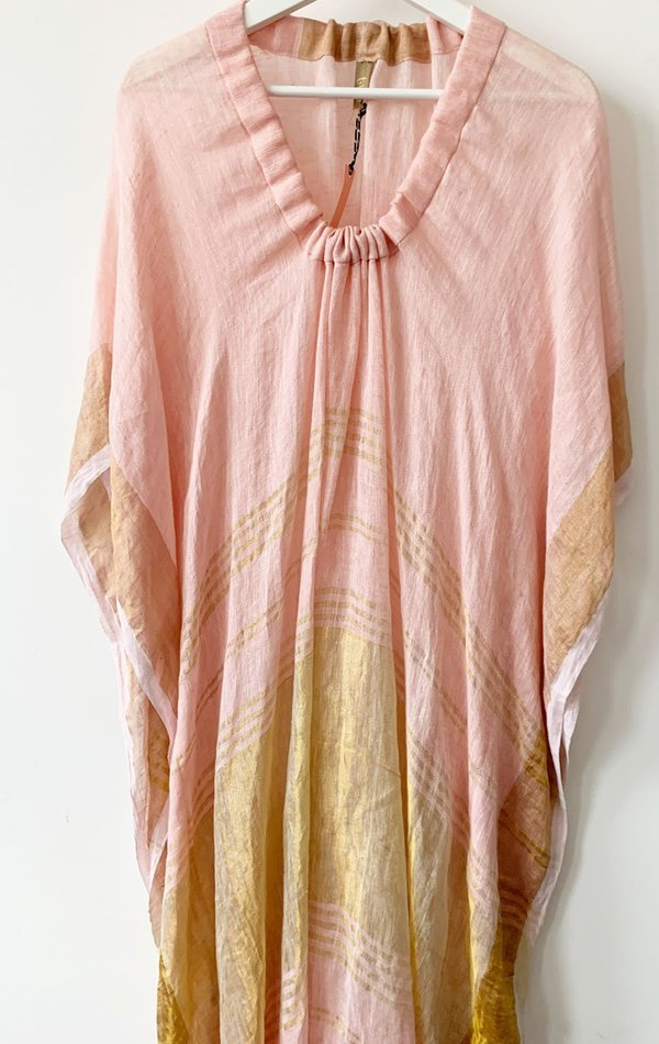 Two Linen Caftan - Pink Metallic