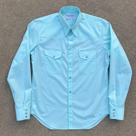 Tony Shirtmakers Retro Inspired Western Shirt - Pale Green