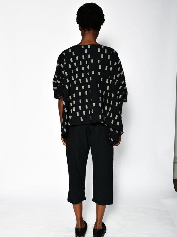 Uzi NYC Coarse Cotton Cube Top - Black Disko
