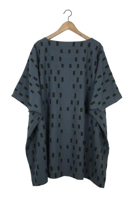 Uzi NYC Coarse Cotton Box Dress - Charcoal Disko