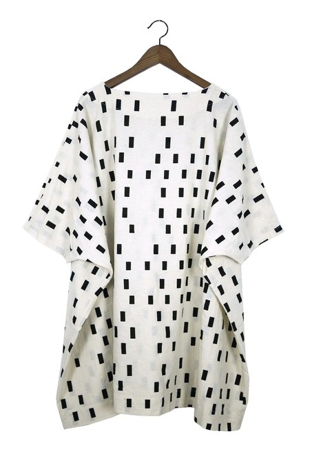 Uzi NYC Coarse Cotton Box Dress - Cream Disko
