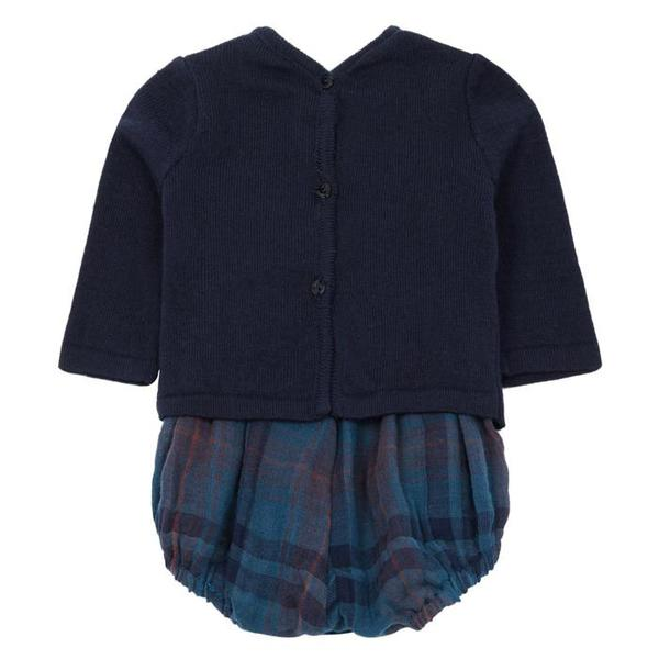 Pequeno Tocon Baby Long Sleeved Bodysuit Navy Blue And Tartan
