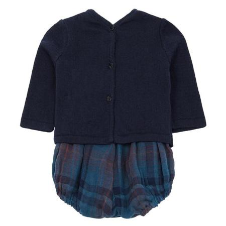 Kids Pequeno Tocon Long Sleeved Bodysuit - Navy Blue