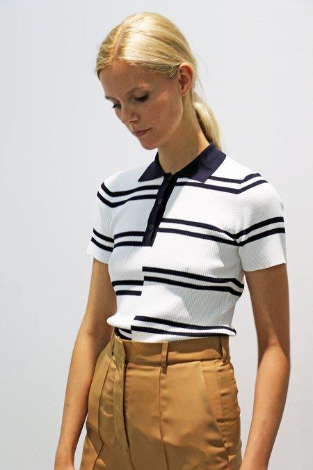 ROKH Intarsia Stripe Jersey Polo - Off White/Navy