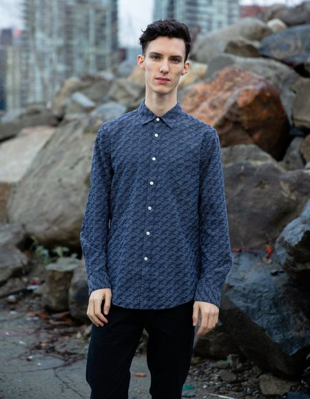 Portuguese Flannel 30's Long Sleeve Shirt - Navy