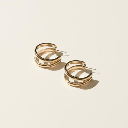 Maslo Jewelry Double Hoop Earrings - Gold