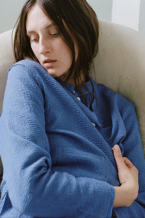 Karu Kantha Stitch Rindle Jacket - Ceramic Blue