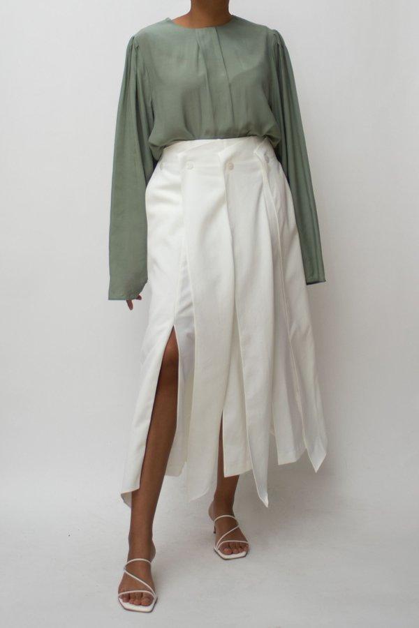 W A N T S Pleats Slits Skirt - Ivory