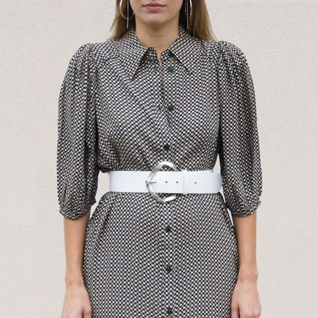 Ganni Printed Crepe Shirtdress - Tannin