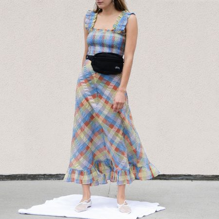 Ganni Seersucker Maxi Dress - Check