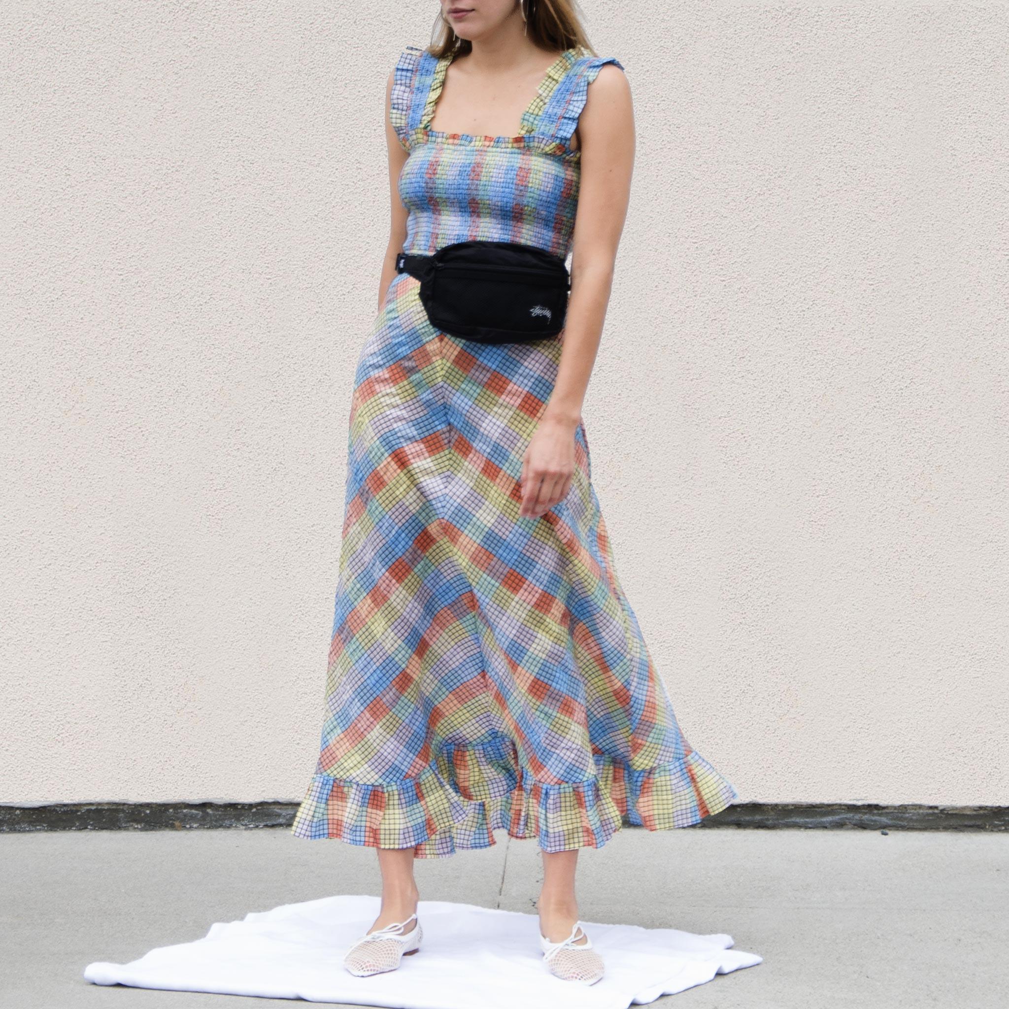 Ganni Seersucker Maxi Dress Check Garmentory