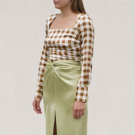Ganni Silk Stretch Blouse - Toffee Plaid