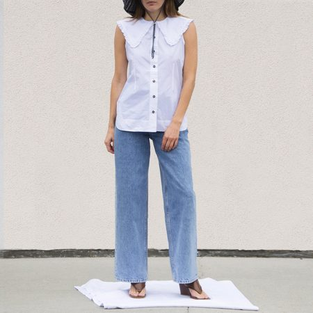 Ganni Sleeveless Cotton Poplin Top