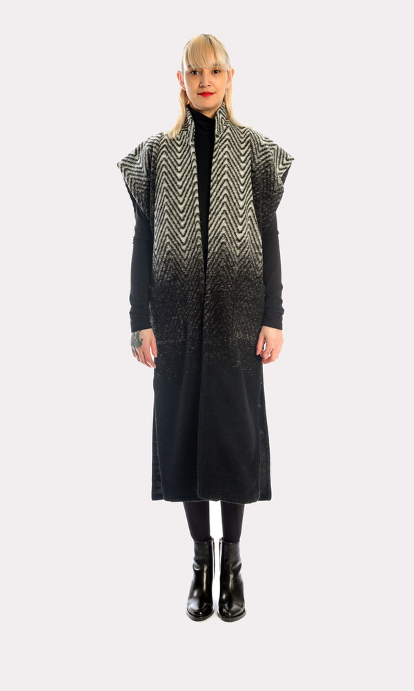 Carla Long Wool Vest in Dynasty Fade