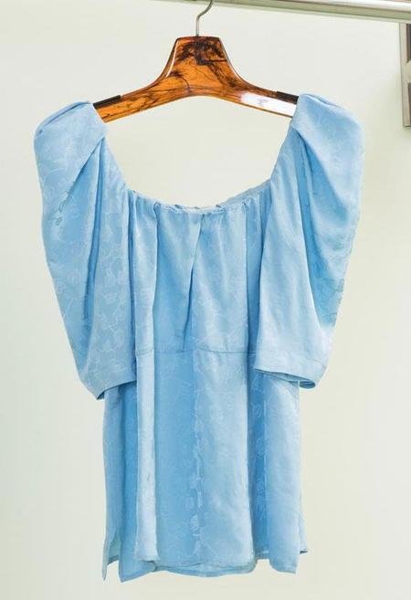 Rachel Comey Capa Viscose Jacquard Top - Sky Blue