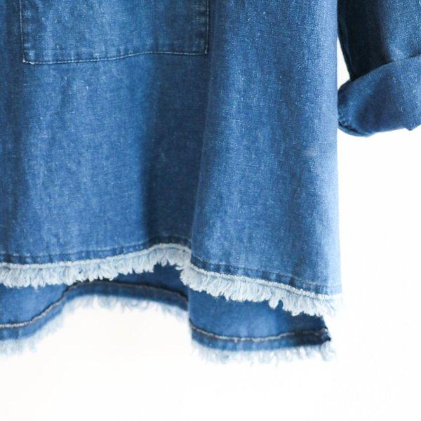 [Pre-loved] Nili Lotan Frayed Tunic Shirt - Denim
